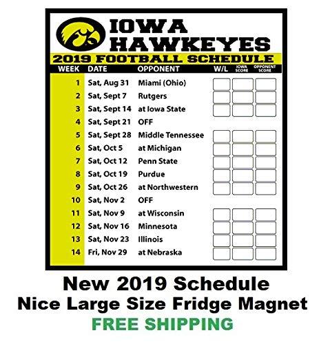 U Of Iowa Football Schedule 2019 Amazon.com: 2019 NCAA Iowa Hawkeyes Football Schedule Fridge