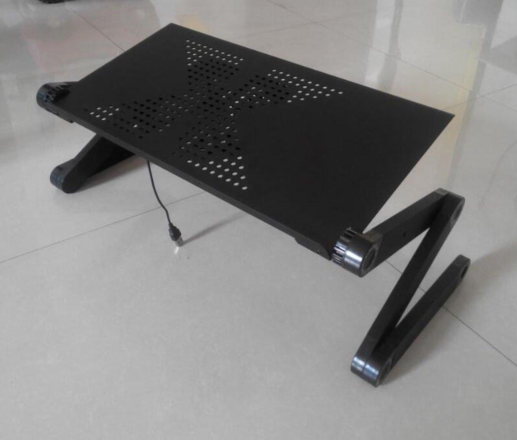 Hhdd Lazy Table Folding Laptop Desk Bracket Desk Tray Sofa, Bed, Balcony, Garden, etc. (3 Colors Without Fan) (Color : Black)