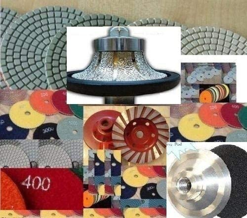 3 8 Demi Roundover Bullnose Diamond Router Bit Profile Shaping Granite 22 Piece Polishing Pad 4 Inch Grinding Cup Wheel aluminum backer Concrete Marble Travertine Quartz Countertops edge fabricate
