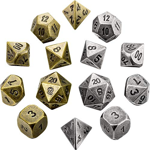 Jovitec 14 Pieces Metal Solid Zinc Alloy Game D&D Dices Set Durable Polyhedral Dice with Printed Numbers and Velvet Storage Bags for Game, Dungeons and Dragons, RPG, Math Teaching (B) ()
