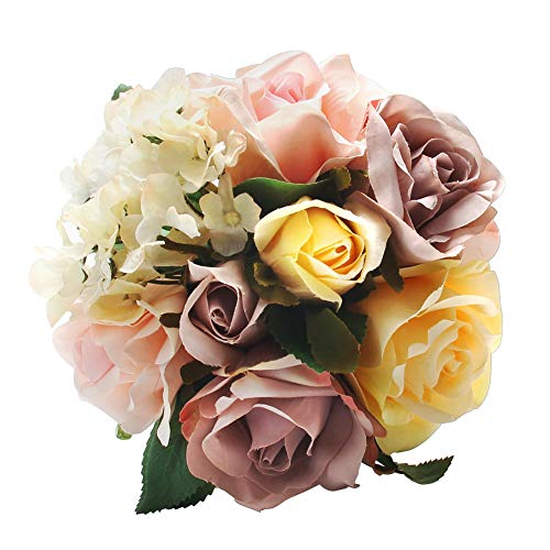 CQURE Artificial Fake Flowers Silk Artificial Roses 9 Heads Bridal Wedding Bouquet for Home Garden Party Wedding Decoration (Colorful)