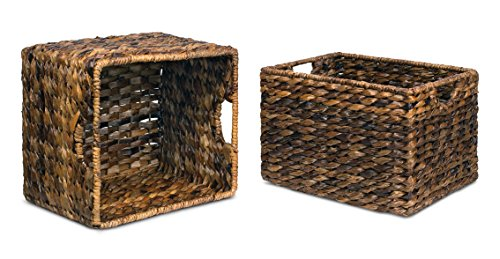 """BIRDROCK HOME Woven Storage Shelf Organizer Baskets with Handles - Set of 3 - Abaca Wicker Basket - Pantry Living Room Office Bathroom Shelves Organization - Under Shelf Basket - Handwoven (Espresso) - BEAUTIFUL ORGANIZATION: organize your home without missing out on a beautiful, decorative design. Keep your home shelves organized by using the baskets to stow away magazines, toys, books, dog toys, papers, files, electronics and other household items within the uniquely designed seagrass bins. Baskets are carefully handwoven giving each one a unique touch SPACIOUS INTERIOR: large interior measuring 8.25"""" H x 11.75"""" L x 10"""" W, gives you plenty of space to store a variety of household items. FITS MOST SHELVES: designed to fit most décor shelves, book shelves, pantry shelves, kitchen shelves, bathroom shelves, etc. (Measure shelves before purchasing to avoid returning) - living-room-decor, living-room, baskets-storage - 51c9ruhFU0L -"""