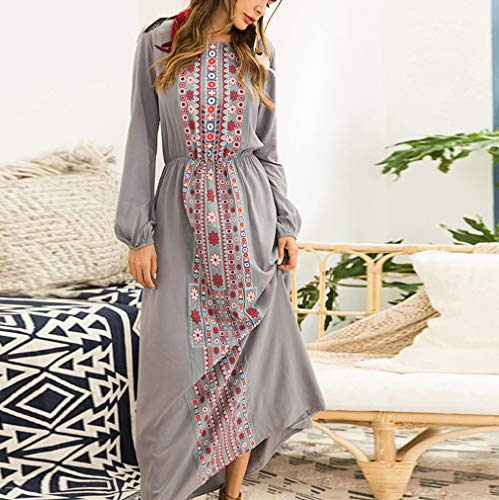 musulmano Kaftan lunga Abito Elegant Abbigliamento Long Dubai Woman manica Grigio Abaya 4qdnzgwaxg