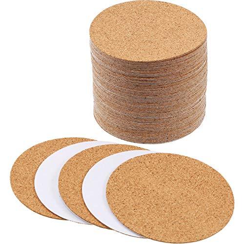 Round Cork Coaster - Hotop Self-adhesive Cork Coasters Squares Cork Mats Cork Backing Sheets for Coasters and DIY Crafts Supplies (60, Round)