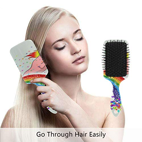 Detangling-Hairbrush, Rainbow Unicorn Painting Boar bristle Hair Brushes with Nylon Ball-tipped & Air Cushion Plastic Comb for Anti Static & Frizz,Womens/Girls Hair Brush