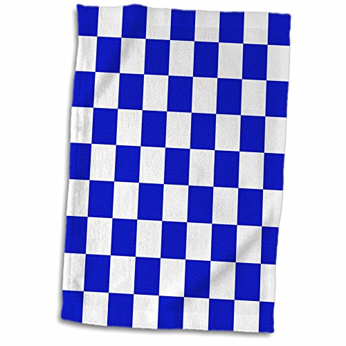3dRose InspirationzStore patterns - Checkered navy blue and white squares pattern - check checked checkerboard chessboard mosaic - 15x22 Hand Towel (Checkerboard Face)