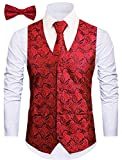 Cyparissus 3pc Paisley Vest for Men with Neck Tie and Bow Tie Set for Suit Tuxedo (XL, Red)