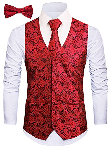 Cyparissus 3pc Paisley Vest for Men with Neck Tie and Bow Tie Set for Suit or Tuxedo (M, Red)