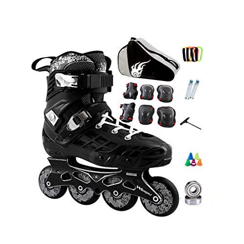 惑星ゴム眼ailj インラインスケート、スケート、大人の男の子、女の子、ローラースケート、プロのコンビネーション、多機能スケート(2色) (色 : 黒, サイズ さいず : EU 38/US 6/UK 5/JP 24cm)