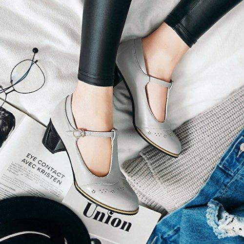 UH Femmes T Bar Escarpins Mi Talon Bout Rond Confortable Chaussures Gris k4w0bIKl0H
