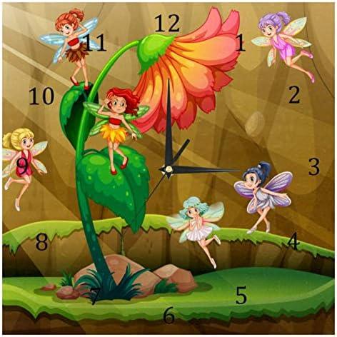 BestIdeas Fairies Vliegen Rond De Bloem Stille Quartz Wandklokken Niettikken Batterij Operated Klok Home Decor voor Slaapkamer Woonkamer Keuken Kantoor