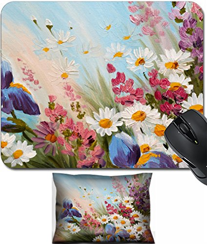 MSD Mouse Wrist Rest and Small Mousepad Set, 2pc Wrist Support design 35891728 ll Oil Painting abstract illustration of flowers daisies greens wallpaper decoration ()