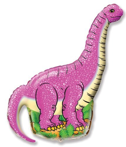 Dinoaur Balloons for Kids – 7-Pack 1-Dinosaur and 6 Pink and White 12inch Balloons Set for Birthday Party – Premium Quality Foil – Reusable – Vivid Colors and Funny Animal