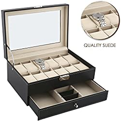 Allewie Jewelry Box Leather Jewelry Organizer Lockable with One Drawer Professional Watch Box Storage Glass Lid for Home and Travel - Black