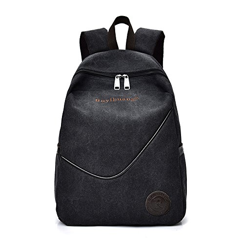Price comparison product image Topromise Mens canvas backpack bag casual daypack bag college school bag crossbody shoulder bag black