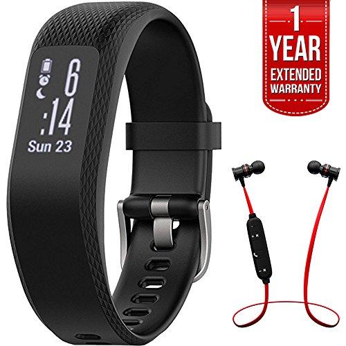 Garmin Vivosmart 3 Smart Activity Tracker Black Small/Medium (010-01755-10) with Xtreme Fusion Bluetooth Headphones Black/Red & 1 Year Extended Warranty