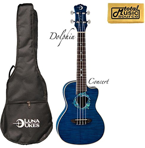 (Luna Fauna Series Dolphin Quilted Maple Concert UkE w/PC )