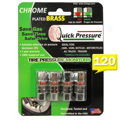 Quick Pressure QP-000120 Chrome Plated Brass 120 psi Tire Pressure Monitoring Valve Cap, (Pack of 4)