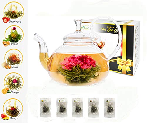 (Five Star Gift Blooming Tea Set: 750ml Glass Teapot with Filter Infuser with 5 Flowering Tea Balls )