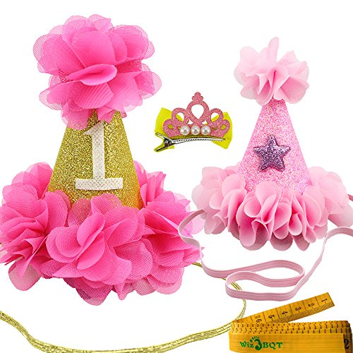 Wiz BBQT 2 Pcs Adorable Cute Cat Dog Pet Birthday Hair Head Bands Accessories and a Crown Shaped Hair Clip for Kitten Puppy Small Dogs Cats Pets (Rose Red and Pink)