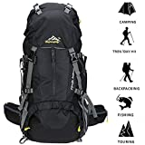 SMEAMUS 45L+5L Trekking Backpack Waterproof for Outdoor Travel Hiking Climbing Camping Mountaineering Rucksack with Rain Cover (Black)