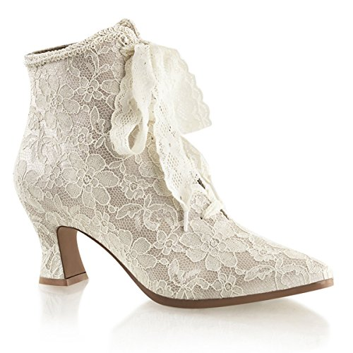 Front Lace Ankle Boot - Summitfashions Womens Champagne Lace Wedding Boots with 2.75 Inch Low Heel and Lace Up Front Size: 8