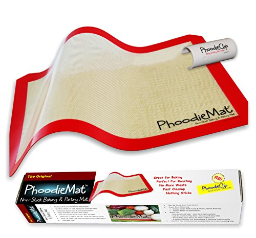 THE ORIGINAL PHOODIEMAT - Premium Silicone Baking Mat/Pastry Mat & Cookie Sheet/Baking Sheet Liner - Includes patented PhoodieClip for EZ Storage - > >See Special Offers below > > Single-Pack < <