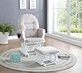 Cheap Naomi Home Brisbane Glider & Ottoman Set, Cream/White