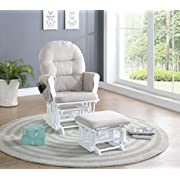 Naomi Home Brisbane Glider & Ottoman Set, Cream/White