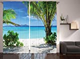 Ambesonne Tropical Plants Seaside Decor For Summer House Curtains, Idyllic Sunlights Tranquil Ocean Resort Beach, Window Drapes 2 Panel Set for Living Room Bedroom, 108 W X 90 L Inches Review