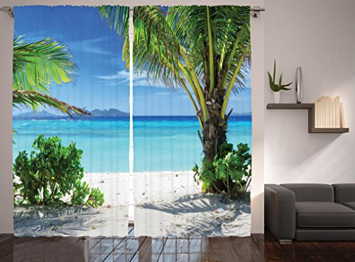 Ambesonne Tropical Plants Seaside Decor For Summer House Curtains, Idyllic Sunlights Tranquil Ocean Resort Beach, Window Drapes 2 Panel Set for Living Room Bedroom, 108 W X 90 L Inches