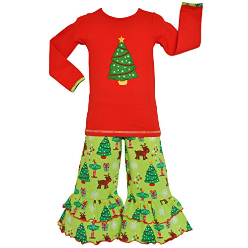 Price comparison product image AnnLoren Big Girls 11/12 Christmas Tree Tunic and Pants Outfit Clothing
