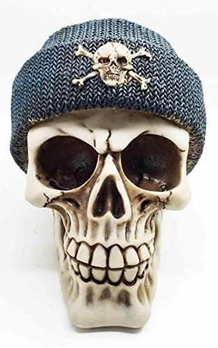 Figurine Grin Demon Head Skull with Crossbone Beanie Skeleton Halloween Decor