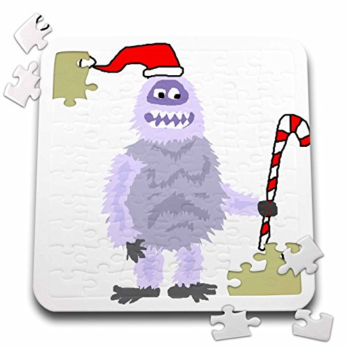 Abominable Snowman Hat (All Smiles Art Holidays - Funny Cute Christmas Abominable Snowman in Santa Hat - 10x10 Inch Puzzle (pzl_252600_2))