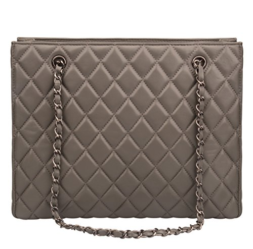 Ainifeel Women's Genuine Leather Quilted Top Handle Handbag Purse Tote (Grey) (Bag Quilted Leather Tote)