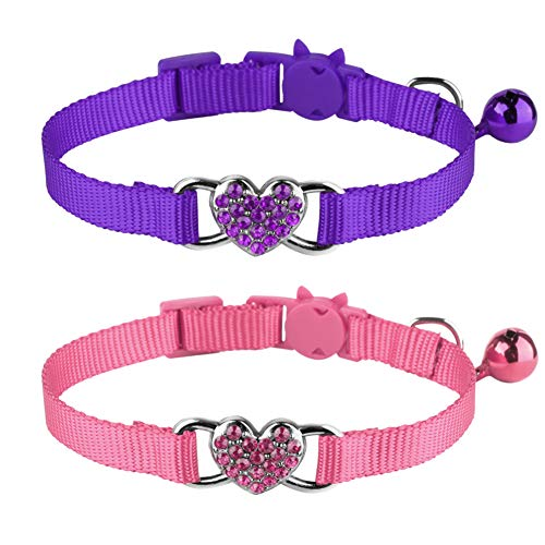 Milliepet 2 Pcs Cat Collars Heart Bling Breakaway with Bell Nylon Adjustable for Kitty (Pink+Purple)