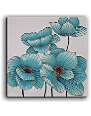 YaSheng Art - 100% Hand Painted Oil Painting on Canvas Blue Flowers Paintings Contemporary Abstract Artwork Canvas Wall Art Paintings Home Decor Abstract Art Paintings Ready to Hang 30x30inch