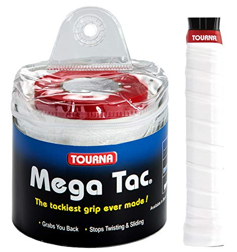 TOURNA Mega Tac Extra Tacky Overgrip, White (30-Pack)