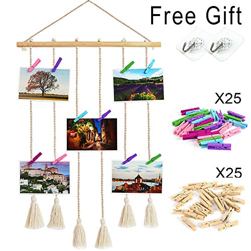 ZALALOVA Hanging Photo Display, DIY Macrame Wall Hanging Picture Frames Home Decor with 50 Clips and 2 Hooks for Photos Collage Artworks Prints ()