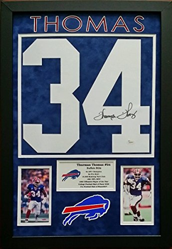 Thurman Thomas Signed Autographed Jersey Number Buffalo Bills Framed 16x24 ()