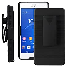SOJITEK Sony Xperia Z3 Compact Black Holster Case 2-in-1 Hybrid Hard Shell Holster Combo With Kickstand & Belt Clip