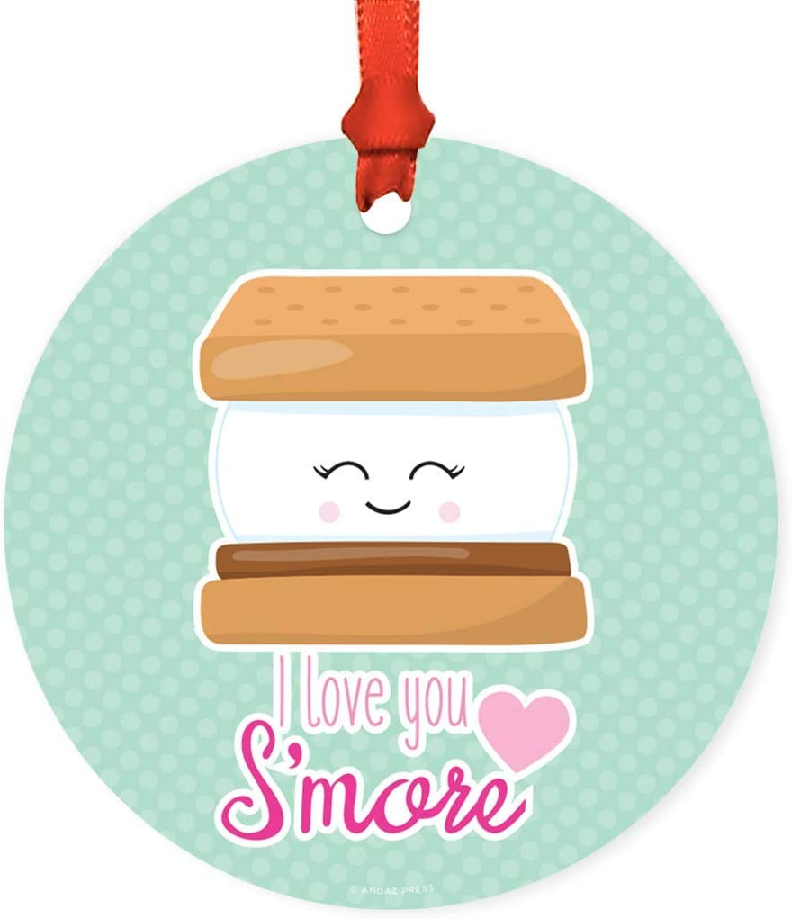 Funny Cute Food Couples Round Ceramic Christmas Ornament Gift, I Love You S'More, Smore Graphic, Kawai Pun Witty Wedding New Couple Gift,Xmas Tree Decortion,Xmas Tree Decortion