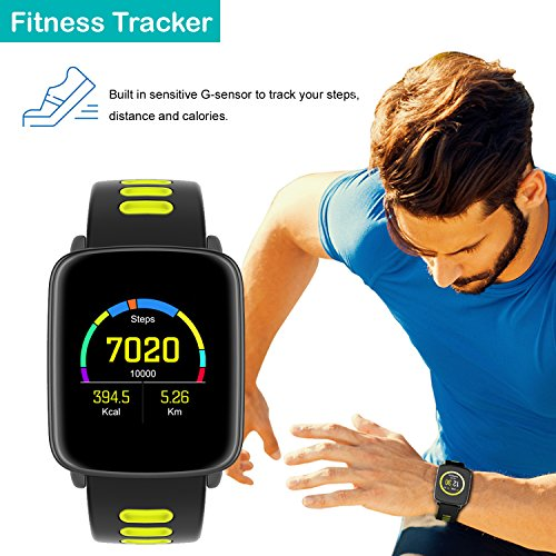 Smart Watch for iPhone & Android Phones,Willful SW018 Smartwatch Fitness Tracker Heart Rate Monitor Watch,Sleep Monitor Pedometer Watch for Men Women Green (IP68 Waterproof,3M Diving) by Willful (Image #2)