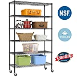 BestOffice 6 Tier Wire Shelving Unit Heavy Duty Height Adjustable NSF Certification Utility Rolling Steel Commercial Grade with Wheels for Kitchen Bathroom Office 2100LBS Capacity-18x48x82, Black