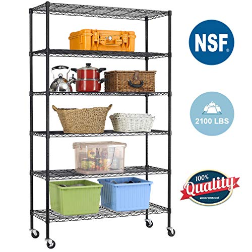 BestOffice 6 Tier Wire Shelving Unit Heavy Duty Height Adjustable NSF Certification Utility Rolling Steel Commercial Grade with Wheels for Kitchen Bathroom Office 2100LBS Capacity-18x48x82, Black (Chrome Metal Mobile Organizer Frame)