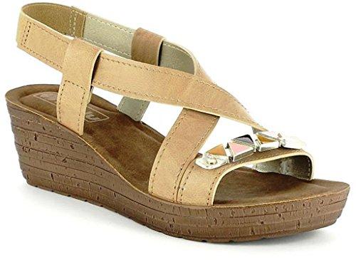 INBLU - Sandalias de vestir de piel sintética para mujer beige Camel 37