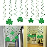 PBPBOX St Patrick's Day Shamrocks Foil Swirls Hanging Decorations - 30 Pack