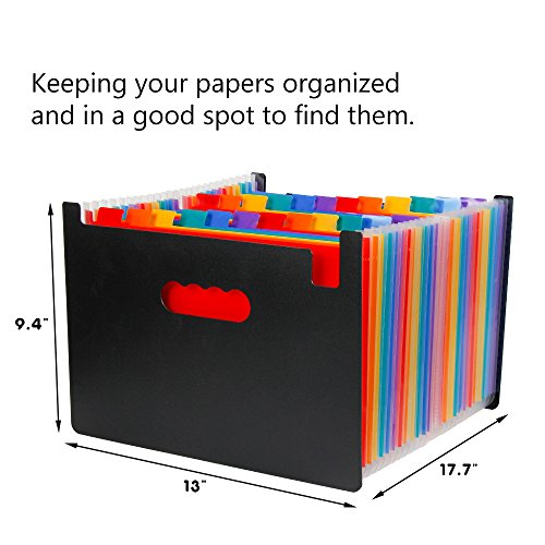 24 Pockets A4 Expandable File Organizer/ High Capacity Multicolour Accordian File Organizer / Plastic Business File Organizer Box by Spessn