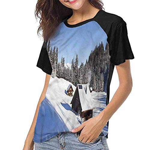 Baseball T-Shirt Summer,Winter,Log Cabins in Mountains S-XXL Woman Baseball ()
