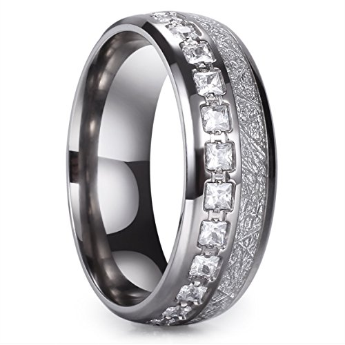 (King Will Meteor 8mm Titanium Ring Domed Imitated Meteorite Wedding Band with Cubic Zirconia 10)